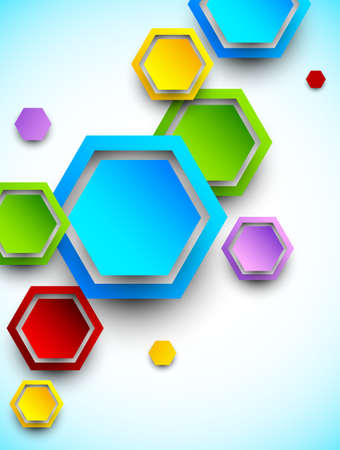 Abstract background with colorful hexagons  Bright illustration Vector