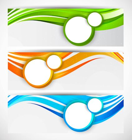 header image: Set of wavy banners with circles Illustration