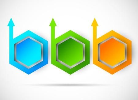 three orange: Vector progress steps  Abstract illustration