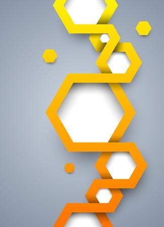 오렌지: 육각형과 추상적 인 배경