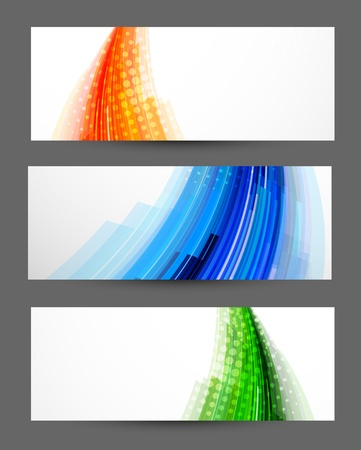 Set of striped banners  Abstract illustration Vector