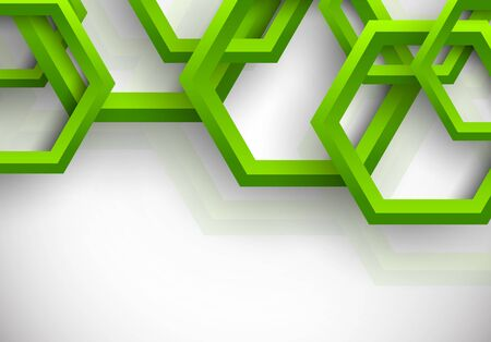 Abstract background with green hexagons Vector