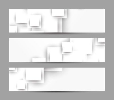 Set of banners with white squares Vector