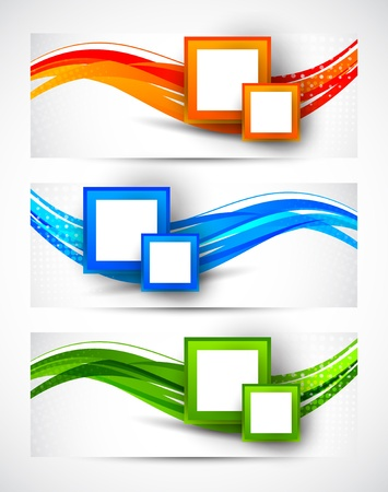 Set of banners with squares  Abstract illustration Stock Vector - 19348097