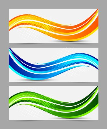 green power: Set of wavy abstract banners