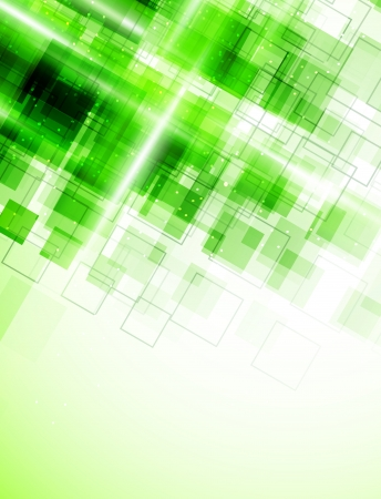 Abstract background with green squares Vector