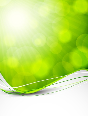 Abstract wavy background in green color Vector