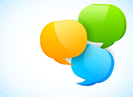 Three speech bubbles in different colors Vector