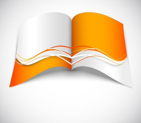 blank magazine: Orange brochure with wavy design Illustration