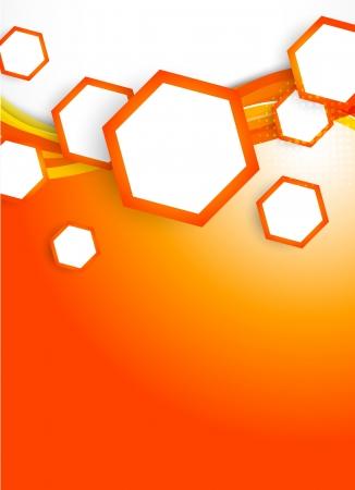 flyer template: Orange hexagons on wavy background Illustration
