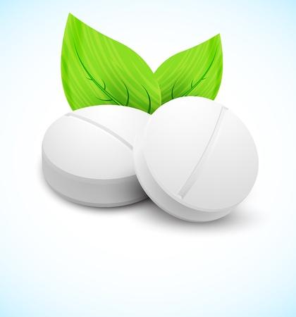 farmacia: Concetto medico Due pillole con foglie Vettoriali