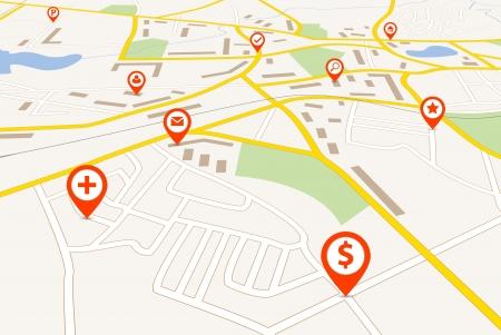 Mapa z czerwonymi wskaźnikami pin