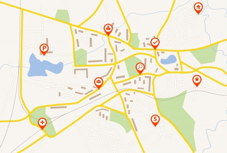 gps navigator: Map with red pin pointers