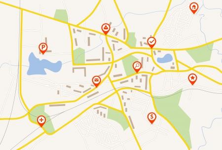 Mappa con puntatori perno rosso Archivio Fotografico - 21489836