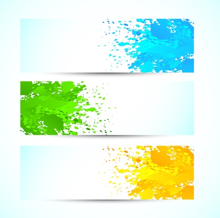 paint splat: Set of grunge banners. Bright illustration