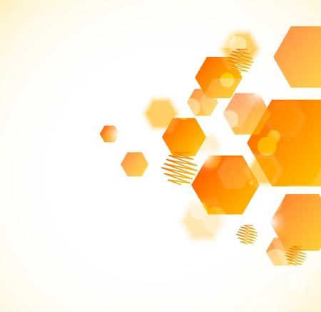 Abstract background with orange hexagons Illustration