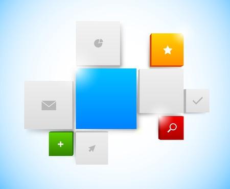 Design of tiled interface. Bright illustration Vector