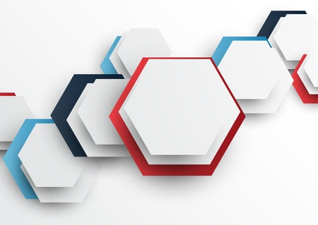 Abstract tech background with hexagons Illustration