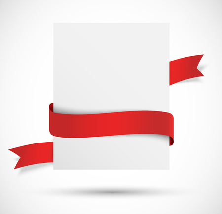 White banner with red ribbon Vector
