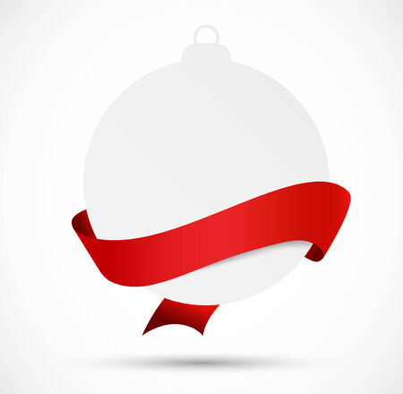 christmas ribbon: Paper evening ball with red ribbon