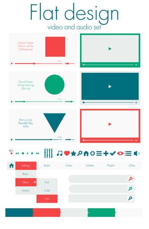 フラットなデザイン。ビデオおよびオーディオ セット  イラスト・ベクター素材