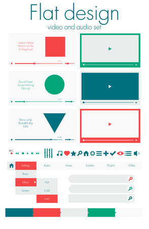 Flat design. Video and audio sets Vector