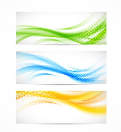 illustraiton: Conjunto de banderas onduladas. Illustraiton Bright