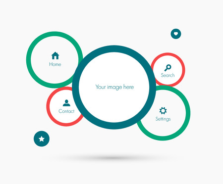 icone tonde: Modello di sito. Design piatto