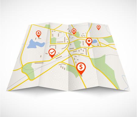 Navigatie kaart met rode pennen Stock Illustratie