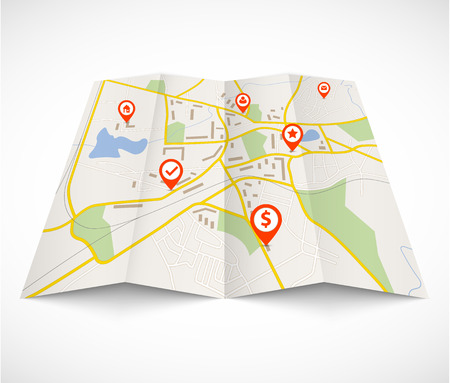 gps navigation: Navigation map with red pins