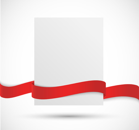 paper banner: Paper banner with red ribbon