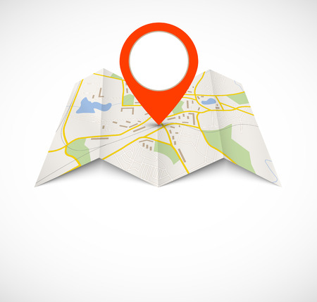 papier pli�: carte de navigation avec la broche rouge Illustration