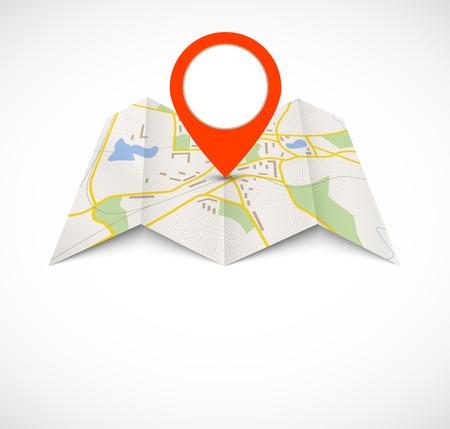 Mappa di navigazione con perno rosso Archivio Fotografico - 25904502