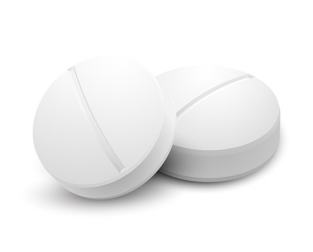 white pills: Two pills on white Illustration