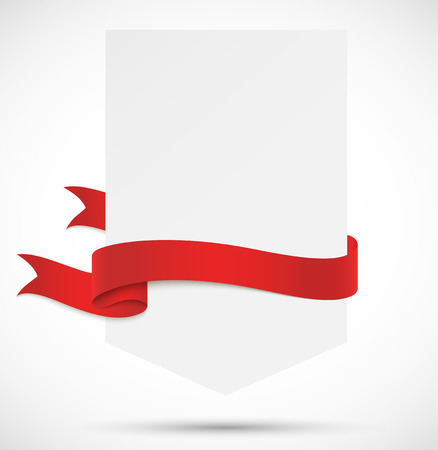 ribbon red: Banner with red ribbon