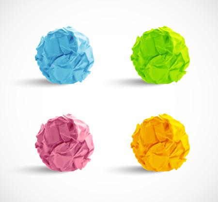 crumpled paper ball: set of crumpled paper balls