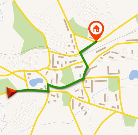 navegacion: El mapa de navegación con el pin Vectores