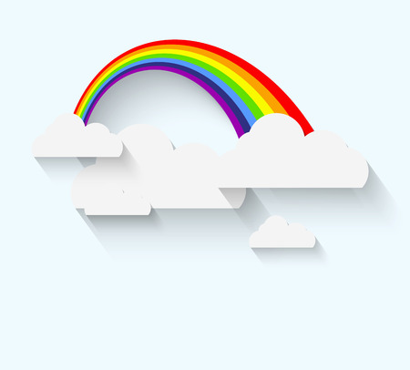 rainbow sky: Rainbow and clouds in flat style with long whadow Illustration
