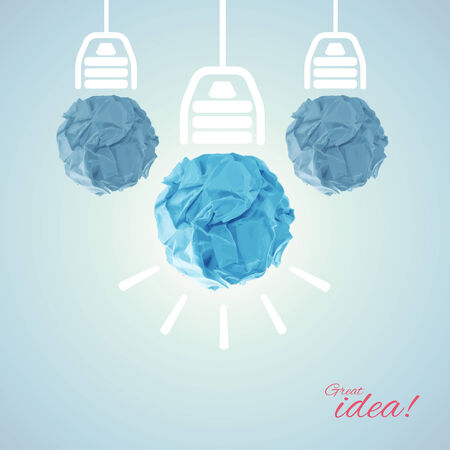 crumpled paper ball: Concept with bulbs