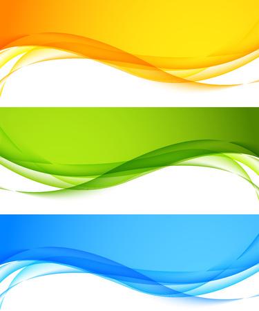 grün: Set wellig Banner Illustration