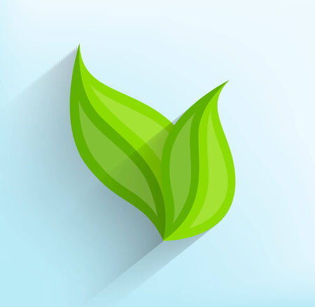 simple life: Green leaves in flat style