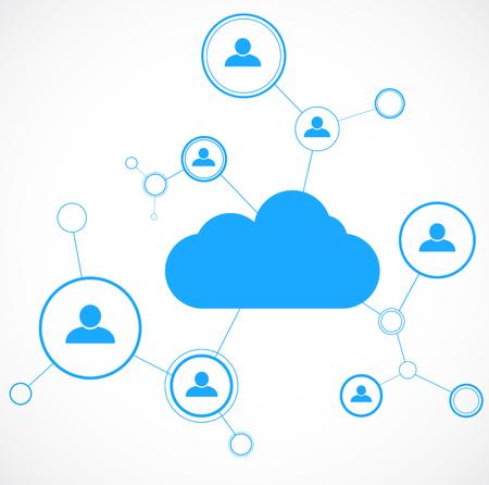 Le concept de réseau. Technolgy Cloud. Le réseautage social. Modèle de conception. Vector illustration Vecteurs