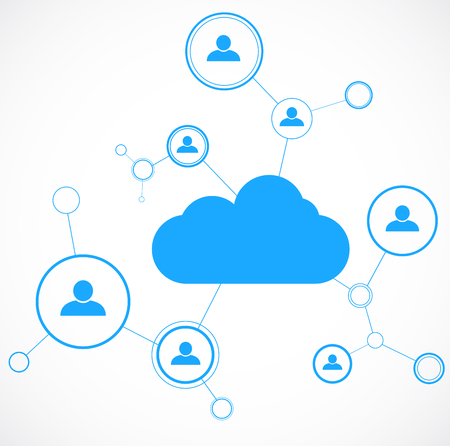 Netwerkconcept. Cloud technolgy. Social networking. Ontwerp sjabloon. Vector illustratie Stock Illustratie
