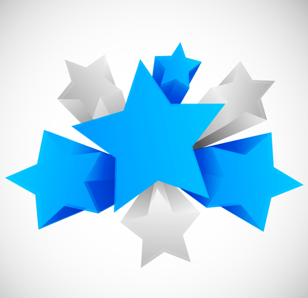 blue star: Abstract background with 3d stars. Design template. Vector illustration