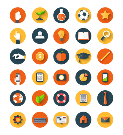 Set of  modern icons in flat style with long shadows on circles. Trendy design Vector
