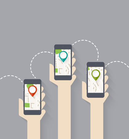 Design for app. Hands hold smarthphone with gps map. Pin pointer. Vector illustration
