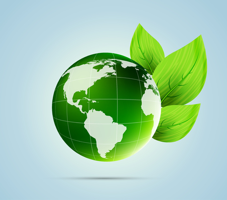 vecotr: Globe with leaves. Ecology concept. Vecotr illustration. Sphere with map. Save the world