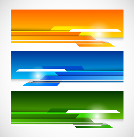 technical abstract: Set of banners with lines Illustration
