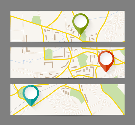 map pointer: Set of banners with map and color pin pointer