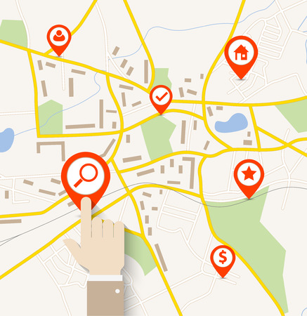Hand tap on pin pointer on navigation map Vector